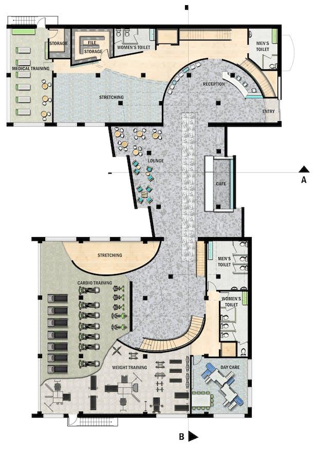 Floor plan drawn in CAD rendered in Photoshop