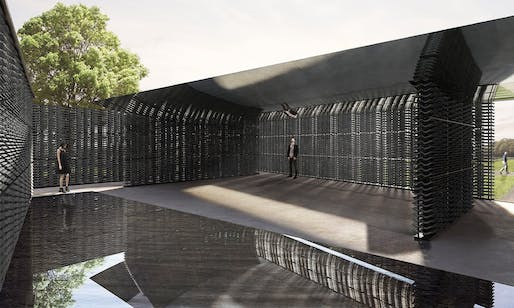 Serpentine Pavilion 2018 Designed by Frida Escobedo, Taller de Arquitectura, Design Rendering, Interior View © Frida Escobedo, Taller de Arquitectura, Renderings by Atmósfera.