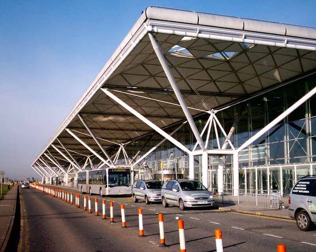 Stansted Airport Terminal, designed by Norman Foster after being commissioned by Jane Priestman, the recipient of the inaugural Ada Louise Huxtable Prize.