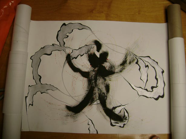 The final drawing done with a dancer in mind. The gray lines showed the movement of the dancer's body, which produced a wrap around the form. This was the idea embodied in the final project.