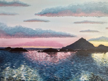 Another painting on the wall - a Nordic sunset while on the express boat from Bodø to Svolvær last year