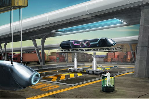 An artist's rendering of the Hyperloop.