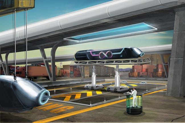 An artist's rendering of the Hyperloop.