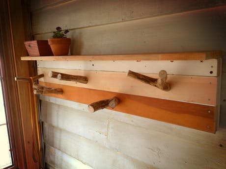 Reclaimed Lumber hook board with branch pegs