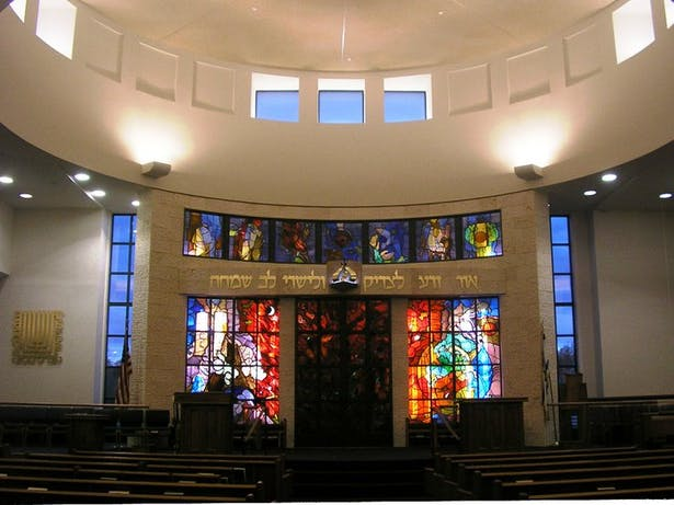 Sanctuary - with stained glass relocated from former building