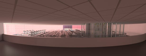 The Third floor rendering shows the cardio machines offered and the track that surrounds it. You can also see the rock climbing way continuing through this level.
