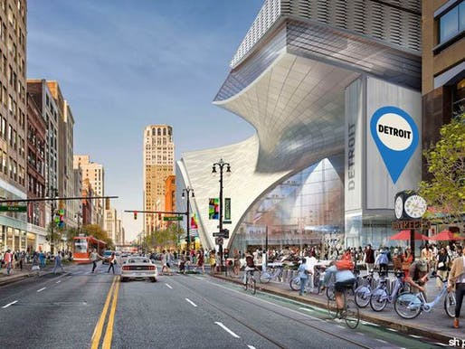 One of several big-project hopefuls is this SHoP-designed mixed-use development at the site of the former Hudson's store on Woodward Avenue. (Image: Rock Ventures; via freep.com)