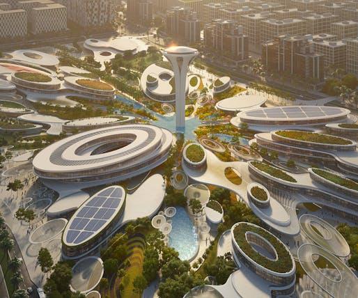 Closeup of the ZHA-designed Aljada master plan Central Hub. Rendering by VA.