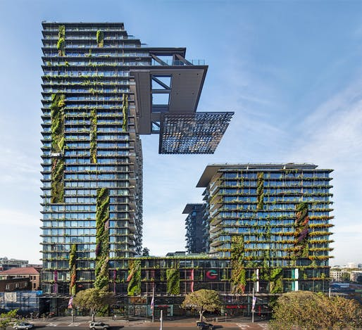 One Central Park by Ateliers Jean Nouvel + PTW Architects in Sydney, Australia. Image courtesy of Frasers Property Australia and Sekisui House Australia