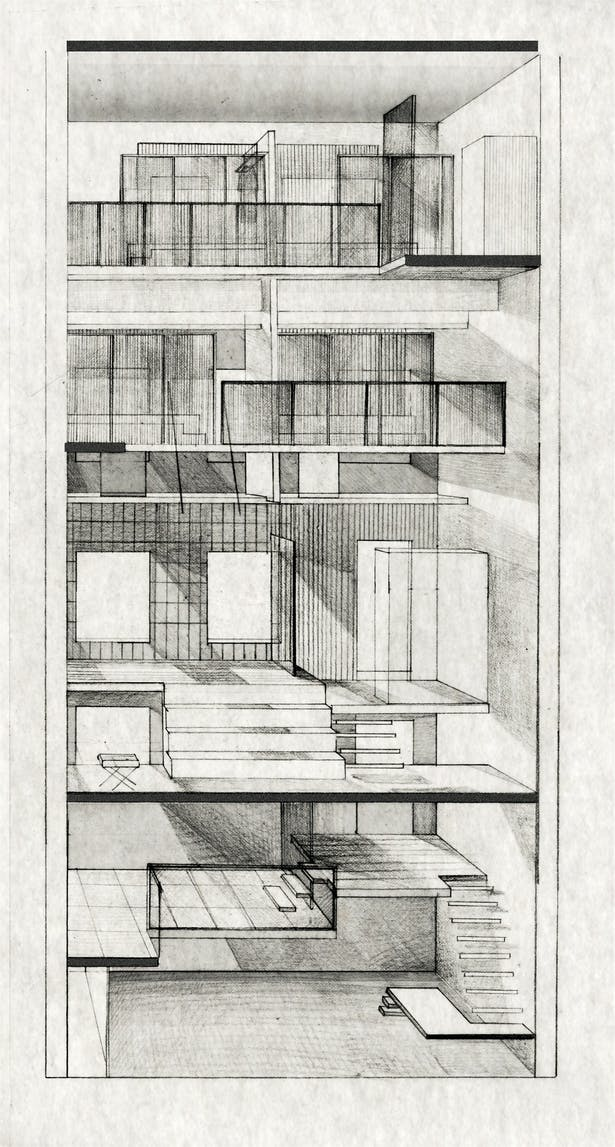 Cross Section Render (graphite on paper)
