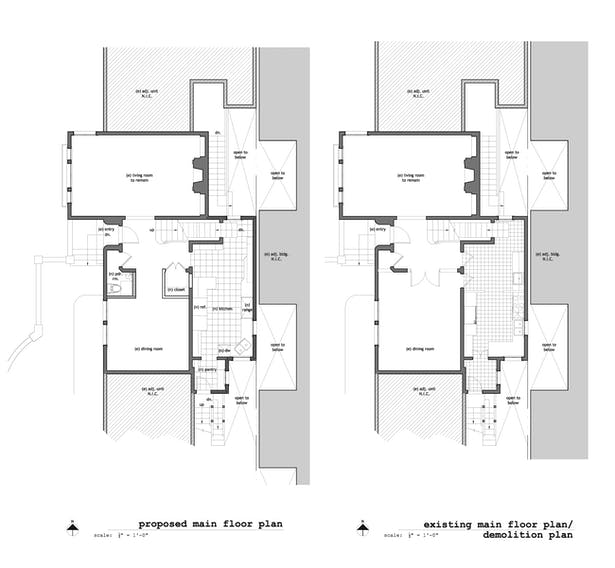 Existing & Proposed Main Floor Plans