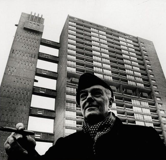 Goldfinger in front of his Trellick Tower in London. Courtesy of http://rosswolfe.wordpress.com/