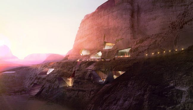 Wadi Rum Lodge, Wadi Rum, Jordan by Oppenheim Architecture and Design. Rendering courtesy of Luxigon