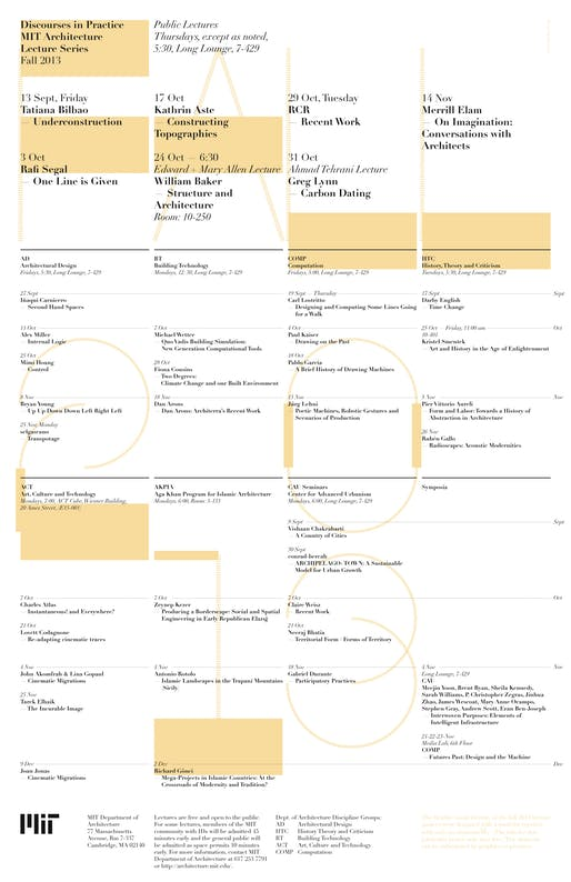 Fall '13 lecture events at MIT Architecture. Image courtesy of MIT Department of Architecture.