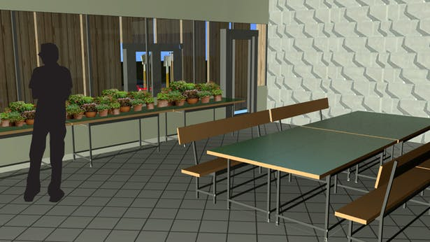 Garden Therapy Room- This room acts as a green house for plants before they are ready to transplant into the garden outside as well a meeting place as patients start to learn about the needs of plants.