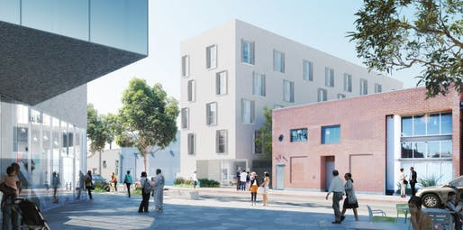 Rendering of the proposed Anita May Rosenstein Campus in Hollywood. (Image: Los Angeles LGBT Center, via scpr.org)