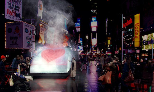 The Living - Vapor Valentine. Finalist entry for 2014 Times Square Heart Design. Image courtesy of 2014 Times Square Heart Design competition