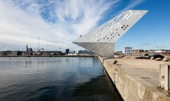 "Perforated ""Sailing Tower"" spotlights Denmark's commercial Aarhus harbor"