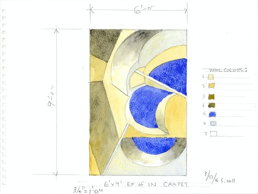 Watercolor drawing for the Ex of IN house carpet, Rhinebeck, NY 2017. Image: Courtesy of Steven Holl.