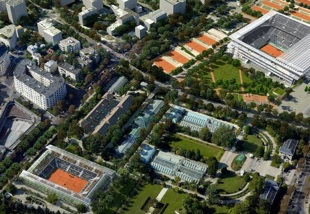Aerial view of the Rolang Garros area