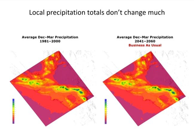 A graphic showing how global warming will not greatly affect local precipitation patterns. Credit: Next Wave / the Hammer Museum