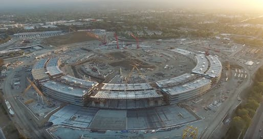 Screenshot of Duncan Sinfield's drone footage showing the current status of the Apple 'spaceship' campus. Image via YouTube.