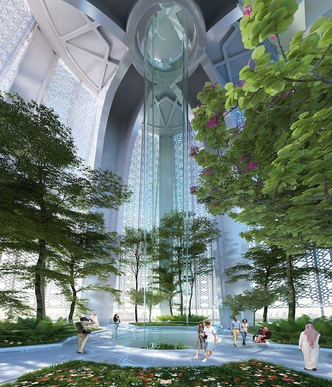Rendering of the Calatrava-designed Observation Tower at the Dubai Creek Harbor development. (Credit: Santiago Calatrava)
