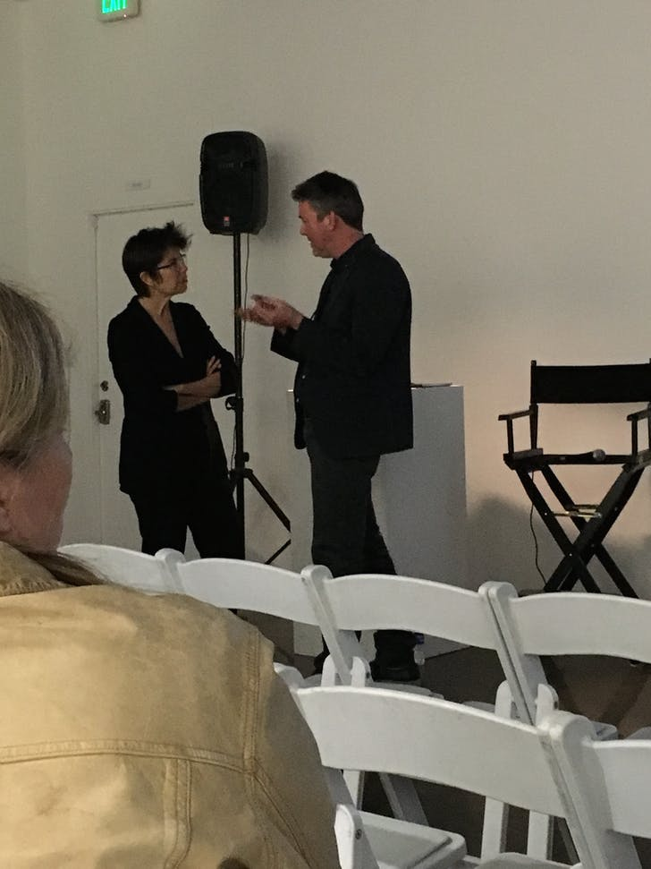 Liz Diller and Christopher Hawthorne warm up before their conversation at LAX Art on February 16th. Photo: author.