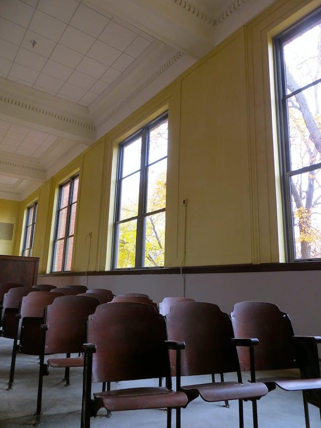 Auditorium restoration, Bancroft School project. Photo credit Taylor Royle.
