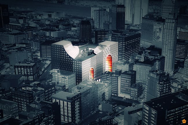 Rendering of 'The Grand Opening' proposal for the Redesigning Detroit: A New Vision for an Iconic Site competition