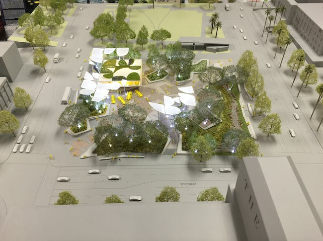 A model of the park proposal by Mia Lehrer Associates + OMA. Credit: Mia Lehrer Associates + OMA via City of Los Angeles