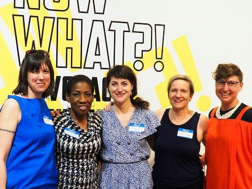 """Now What?!"" curators with Michele Gorman, Pratt Institute Liaison and exhibition designer. Photo © Sally Rafson."