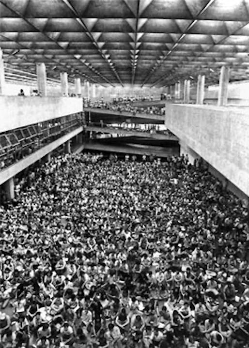 Interior of João Batista Vilanova Artigas' School of Architecture and Urbanism at the University of São Paulo, 1969.