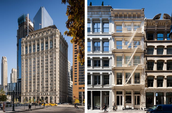 Left: 90 West Street. Cass Gilbert. Right: 111 Mercer Street. © Alexander Severin