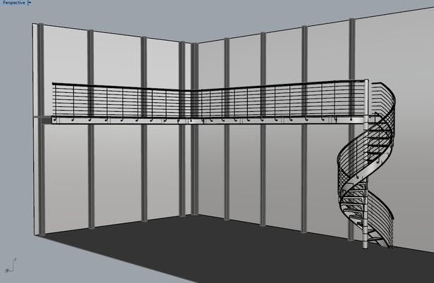 3D Model of the spiral stairs & catwalk