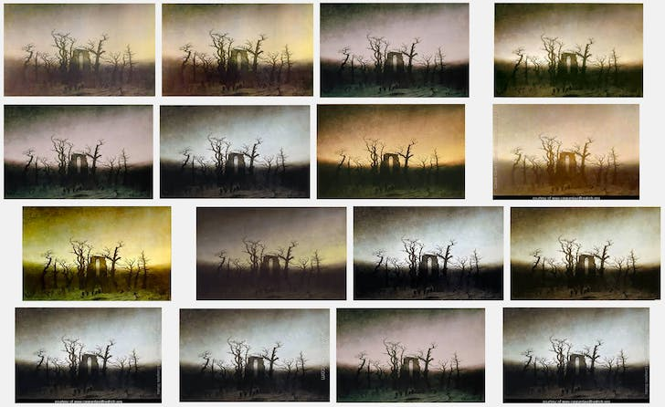 Screenshot of Google image search for 'The Abbey in the Oakwood' by Caspar David Friedrich, Nov. 2014.