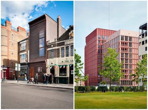(Left) Alex Monroe Workshop; designed by DSDHA. Photo Credit: Luca Miserocchi. (Right) R7, Kings Cross; designed by Duggan Morris Architects. Photo Credit: Jack Hobhouse.