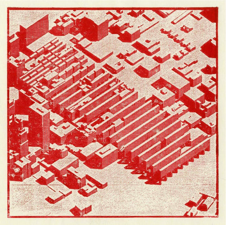 Axonometric of the 'Homestead' territory within downtown Kansas City. Laser cut woodblock print. Image: Andrew Bruno