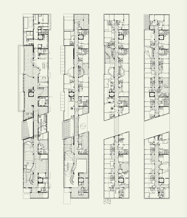 Simmons Hall, MIT, Cambridge, MA, 1999-2002; floor plans. © Steven Holl Architects. Reprinted from Steven Holl (Phaidon, 2015).