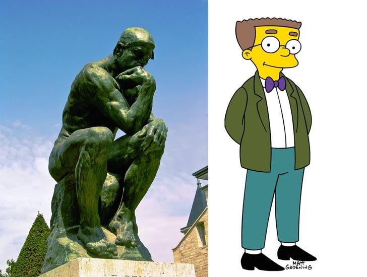 'The Thinker' versus 'Smithers' from The Simpsons (images courtesy Wikipedia).