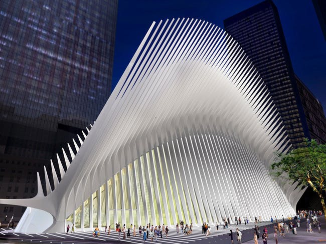 World Trade Center PATH (Port Authority Trans-Hudson transit hub) by Santiago Calatrava. Image source: observer.com
