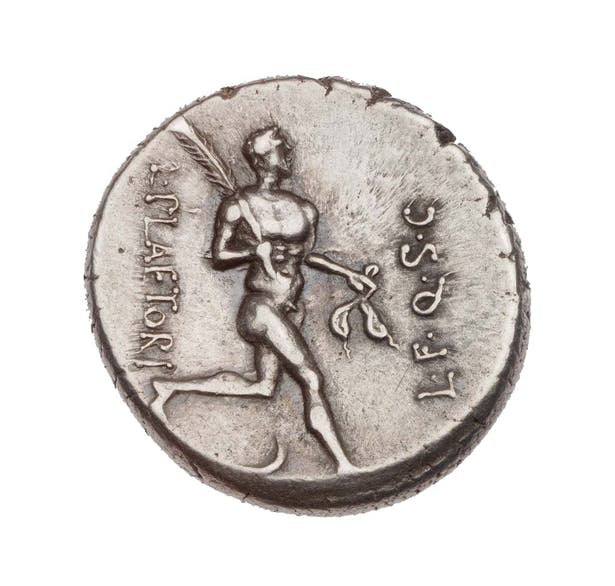 Roman coins with Juno Moneta's figure circa 46 B.C.