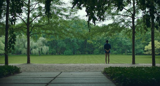 Publicity still for Columbus showing male lead, John Cho, in the Miller Garden.