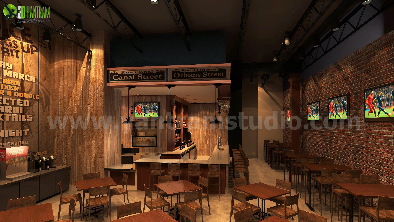 Commercial Bar 3d Interior Rendering Designs Egypt