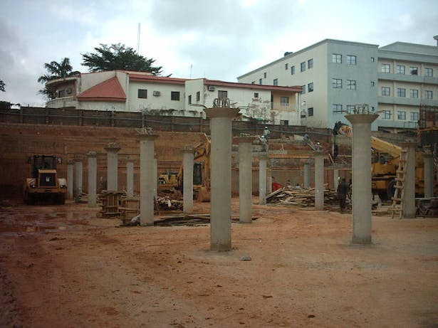 The car park basement level, we had just cast the columns that would support the next level.