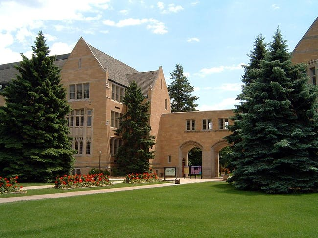 Arched entryway of the University of St. Thomas St. Paul campus. Photo via Wikipedia.