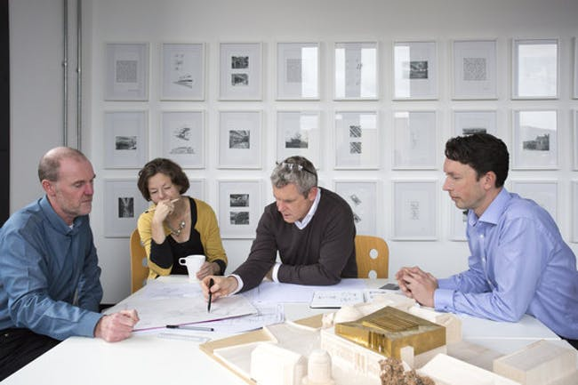Gareth Hoskins Architects Ltd. (Gareth Hoskins in center with glasses) ©Gillian Hayes, Dapple Photography