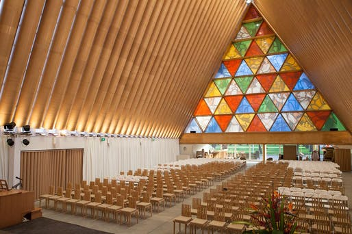 Cardboard Cathedral, 2013, built from paper tubes after 2011 Christchurch earthquake. © Bridgit Anderson. Courtesy of Shigeru Ban Architects.