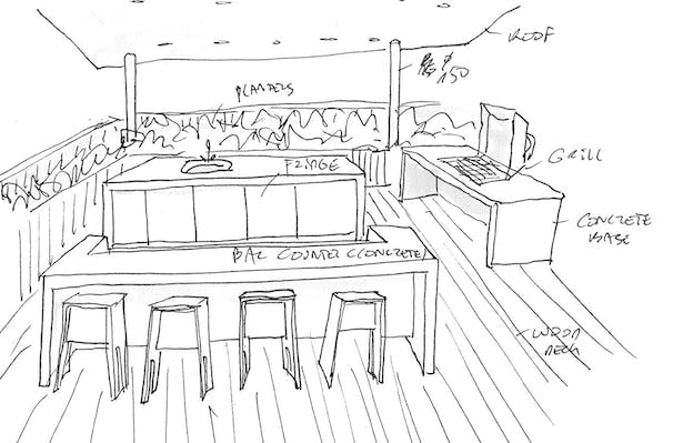 Sketch of bar on roof
