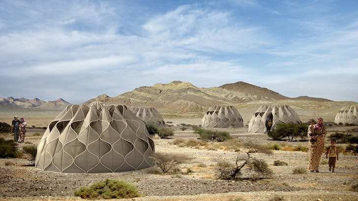 The 'Weaving a home' design utilizes a unique structural fabric. Credit: Abeer Seiklay